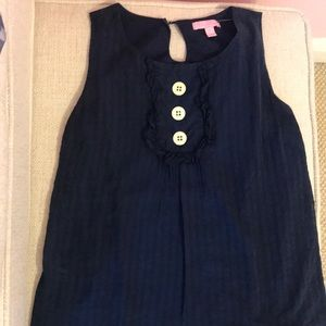 Lily Pulitzer Navy Tank W/ Buttons Size 0 S